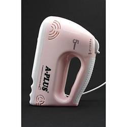 Ручной кухонный миксер A-PLUS 1551 5 скоростей насадки 200Вт розовый