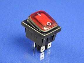 Переключатель-кнопка с защитой от влаги ON-OFF, красная, 4 контакта 250V, 16A