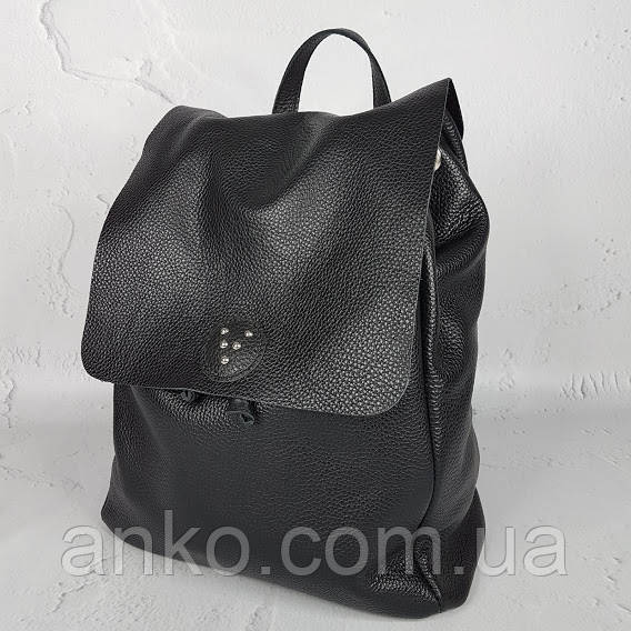 "Рюкзак жіночий ""Неаполь"" натуральна шкіра, чорна флотар"