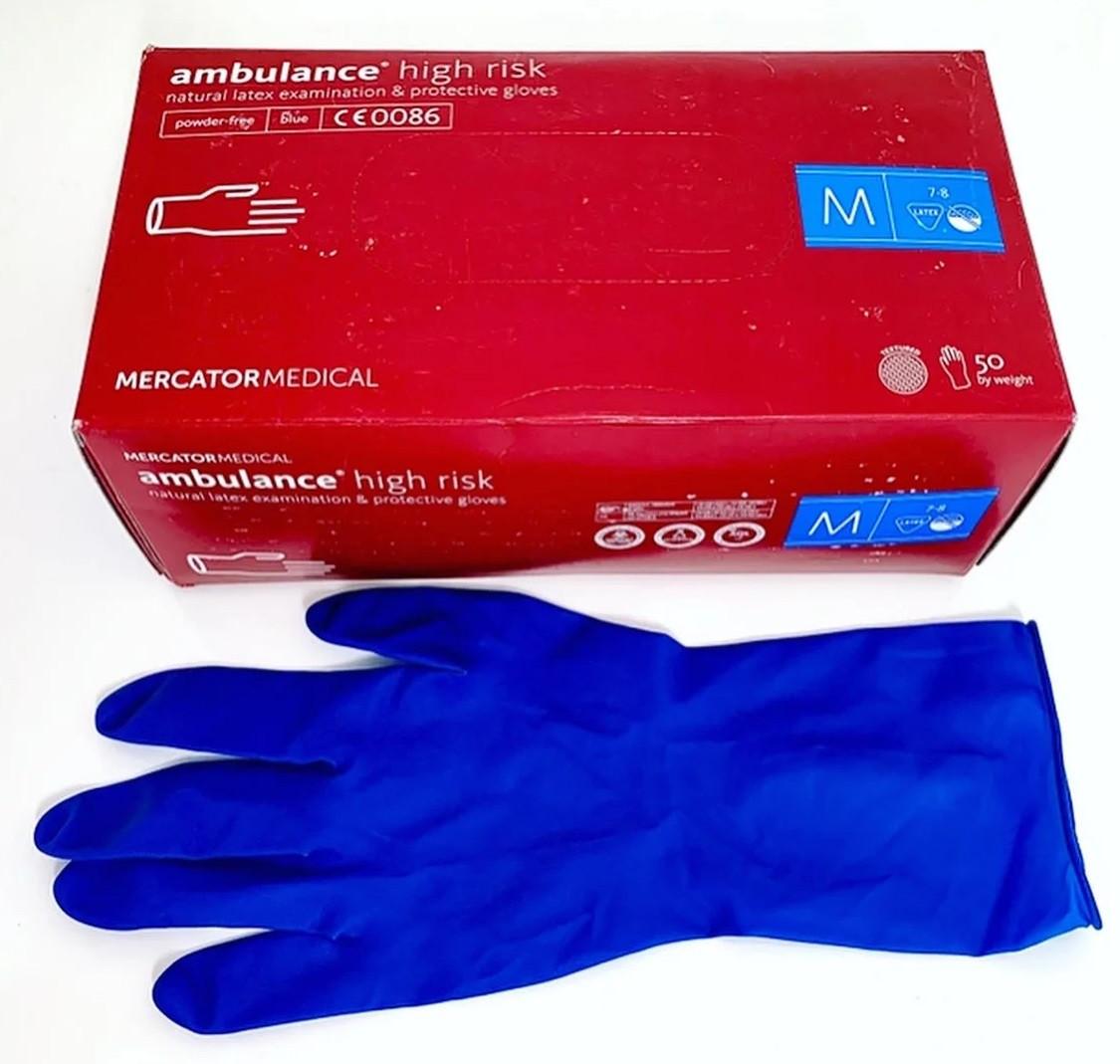 Перчатки латексные Mercator Medical Ambulance High Risk размер М 50 шт Синие