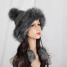 Женская вязаная шапка в стиле лисицы