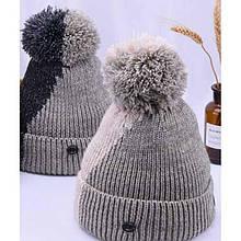 Двухцветная вязаная шапка в корейском стиле