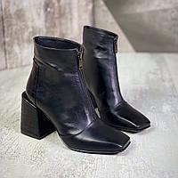 Женские кожаные демисезонные ботинки на каблуке 36-40 р чёрный, фото 1