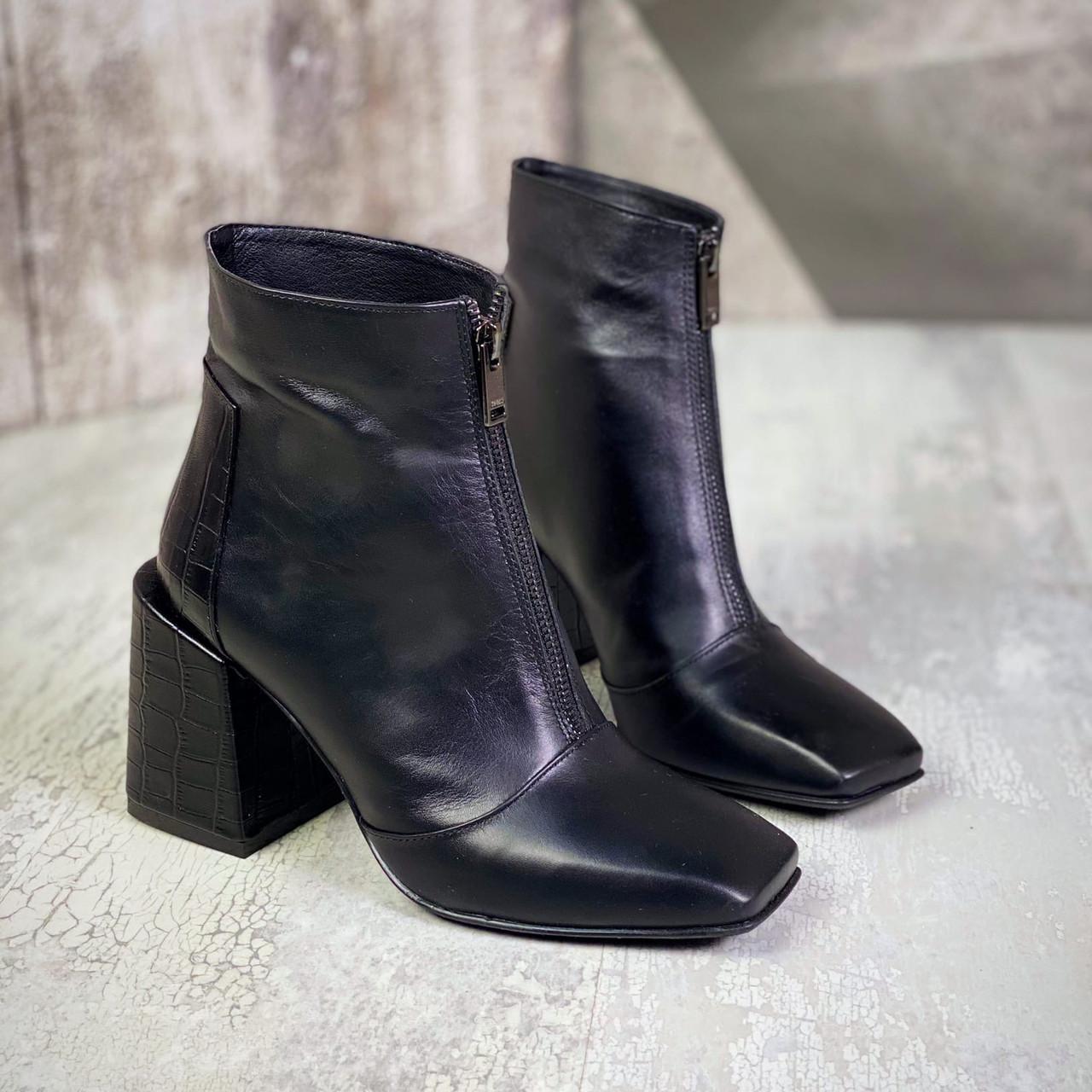 Женские кожаные демисезонные ботинки на каблуке 36-40 р чёрный