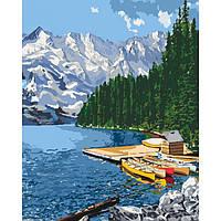 """Яркая картина раскраска по номерам Сельский пейзаж """"Горное озеро"""" KHO2223, 40х50 см живопись рисование в"""