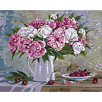 "̂ Яркая картина раскраска по номерам Букеты ""Пионы и вишни 2"" 40х50 см KHO2061 живопись рисование в цифрах"