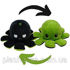 Мягкая плюшевая игрушка Осьминог-перевертыш двухсторонний  Веселый-грустный Цвет Черно - салатовый