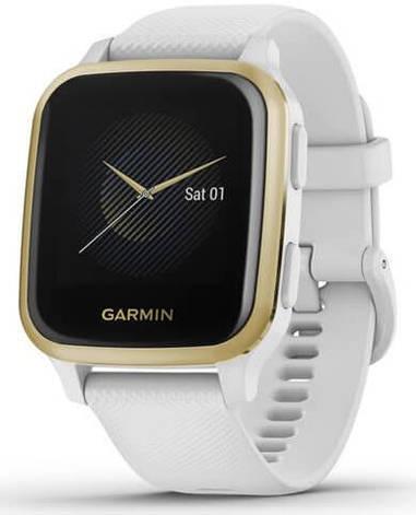 Смарт-годинник Garmin Venu Sq Light Gold Aluminum Bezel with White Case and Silicone Band, фото 2