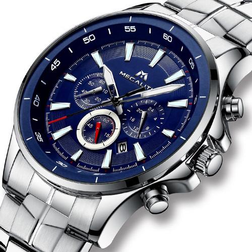 Мужские часы Megalith 0073M Silver-Blue