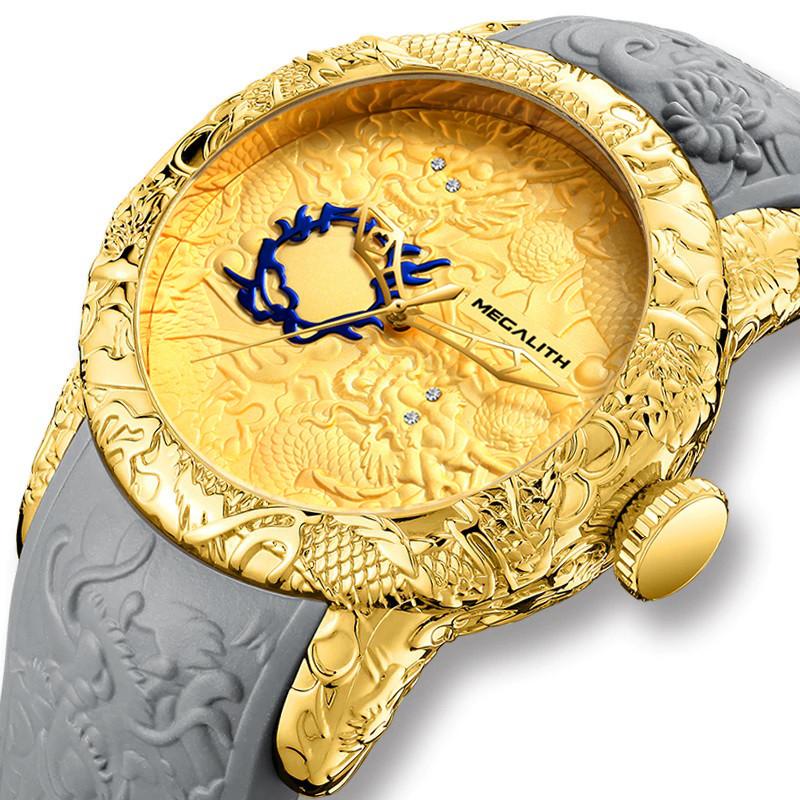 Мужские часы Megalith 8041M Gray-Gold Dragon Sculpture