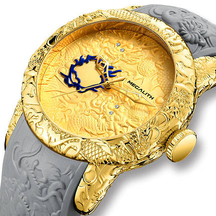Мужские часы Megalith 8041M Gray-Gold Dragon Sculpture, фото 2