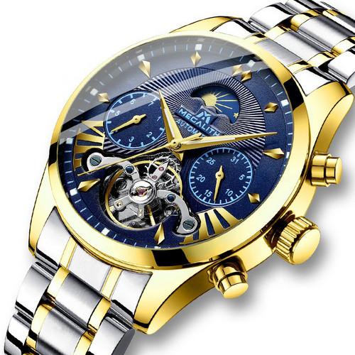 Мужские часы Megalith 8092M Silver-Gold-Blue