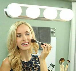 Підсвічування на дзеркало для макіяжу, бездротовий світильник на дзеркало Studio Glow 4 лампи металік M-241281