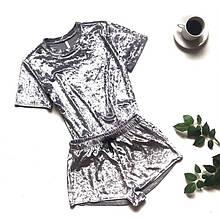 Женская велюровая пижама (футболка и шорты)