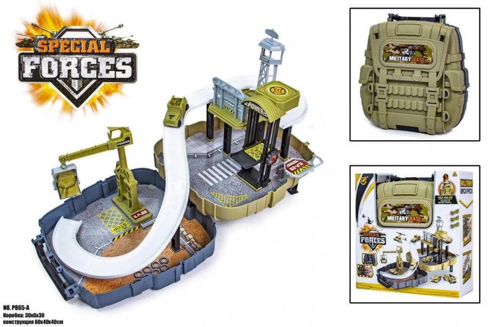 Игрушечный трек для машинок Военная База Forces P865-A автотрек гоночный детский конструктор