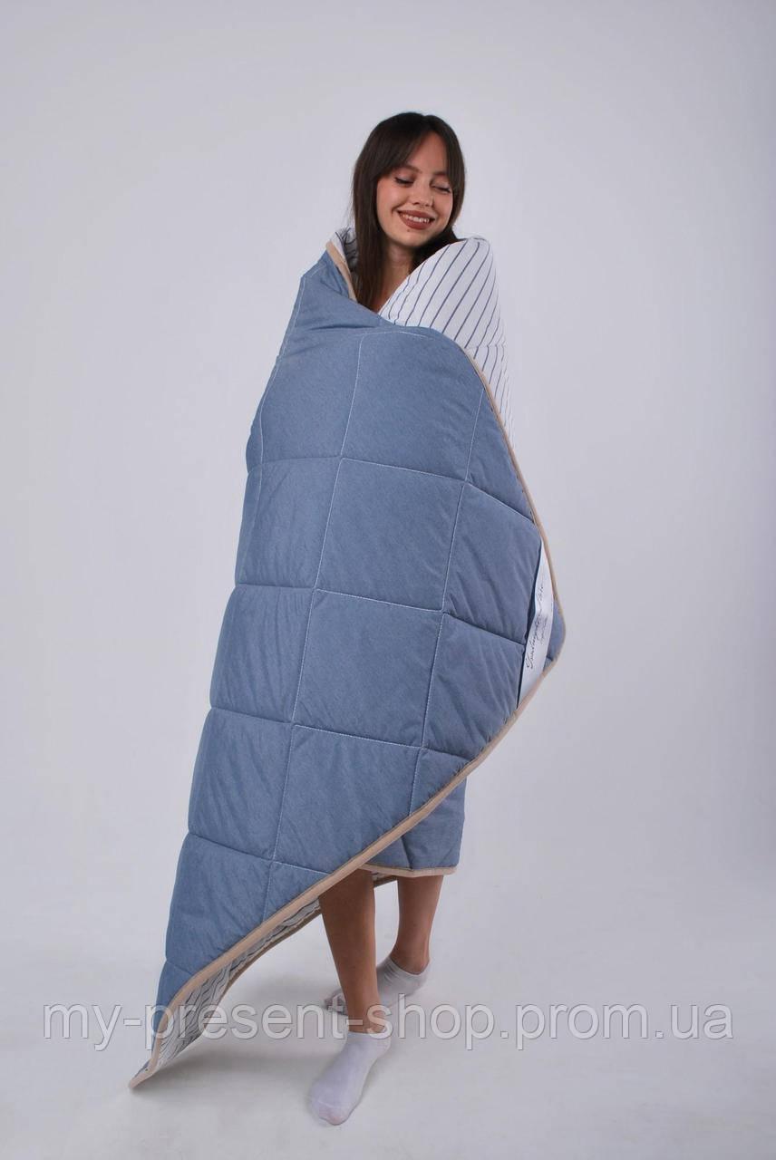 Ковдра Goodnight.Store Полегшена:  200х200 см колір Синій / Білий у смужку