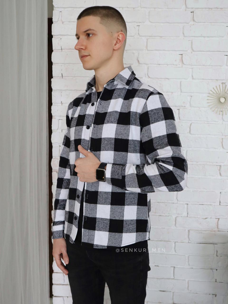 Чоловіча сорочка в клітинку чорно-біла XL