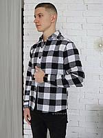 Чоловіча сорочка в клітинку чорно-біла XL, фото 1