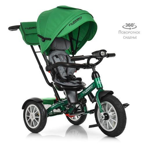 Велосипед M 4057-4 три кол.резина (12/10),колясочн,поворот,регул.руля,свет,зеленый