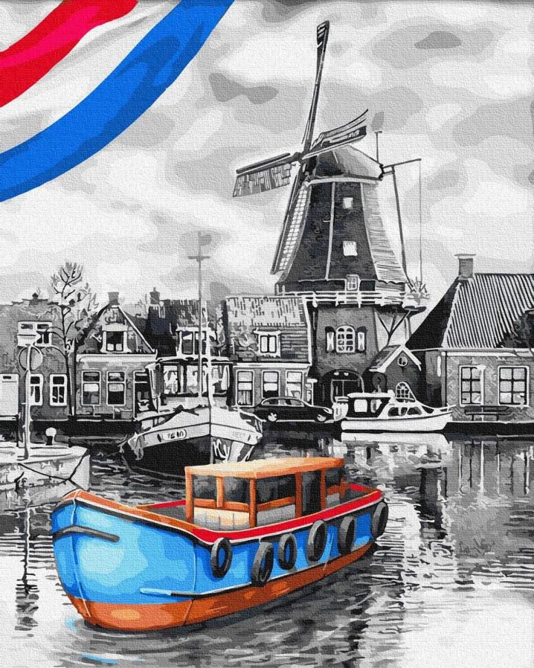 """Яркая картина раскраска по номерам Rainbow Art """"Лодки у мельницы"""" GX34231-RA живопись рисование в цифрах на"""
