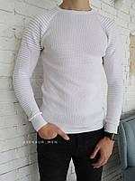 Чоловіча класична кофта біла з коротким рукавом в рубчик
