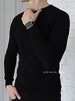 Чоловіча класична кофта чорна з рукавом у рубчик