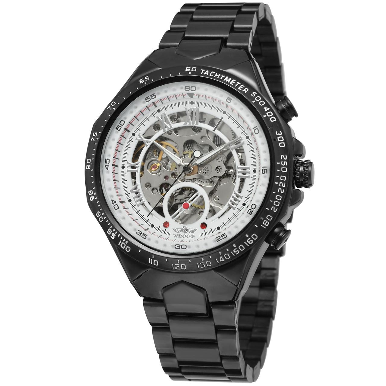 Мужские часы Winner 8067 Black-White Red Cristal