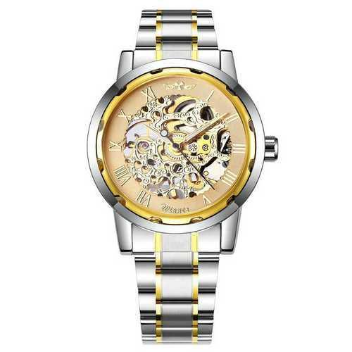 Мужские часы Winner 8012 Automatic Silver-Gold