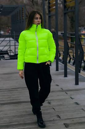 Куртка жіноча пуховик укорочений весняний   осінній 'Bubble' від Intruder жовтий, фото 2