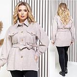 Женское укороченное пальто с поясом кашемир размер: 42-44, 46-48, 50-52, 54-56, фото 2
