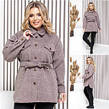 Женское укороченное пальто с поясом кашемир размер: 42-44, 46-48, 50-52, 54-56, фото 3