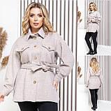 Женское укороченное пальто с поясом кашемир размер: 42-44, 46-48, 50-52, 54-56, фото 5
