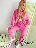 Женский спортивный костюм двойка двухнитка принт медвеженок размер: 42-44, 44-46, фото 4