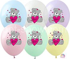 """Воздушные шары """"Мишка Тедди с сердцем на макарун"""" 12""""(30 см) пастель ассорти В упак: 100шт ТМ Арт «SHOW»"""