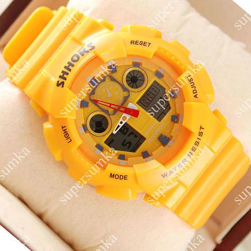 Молодежные наручные спортивные часы Casio Shors GA-100 Yellow 702