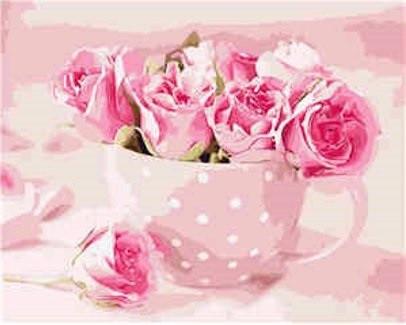 Картина по номерам Розовые розы, 40х50 см