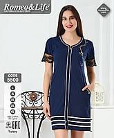 Нарядное женское летнее платья. Платье-халат темно-синее. Турция. Размер 3XL (54-56)