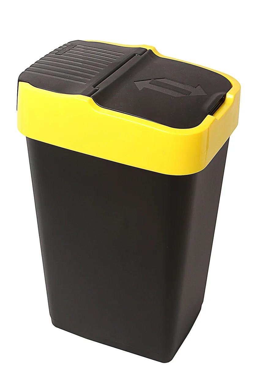 Ведро для мусора с крышкой черное 18л, Heidrun REFUSE Push&Up, 29*23*43см (HDR-1341)