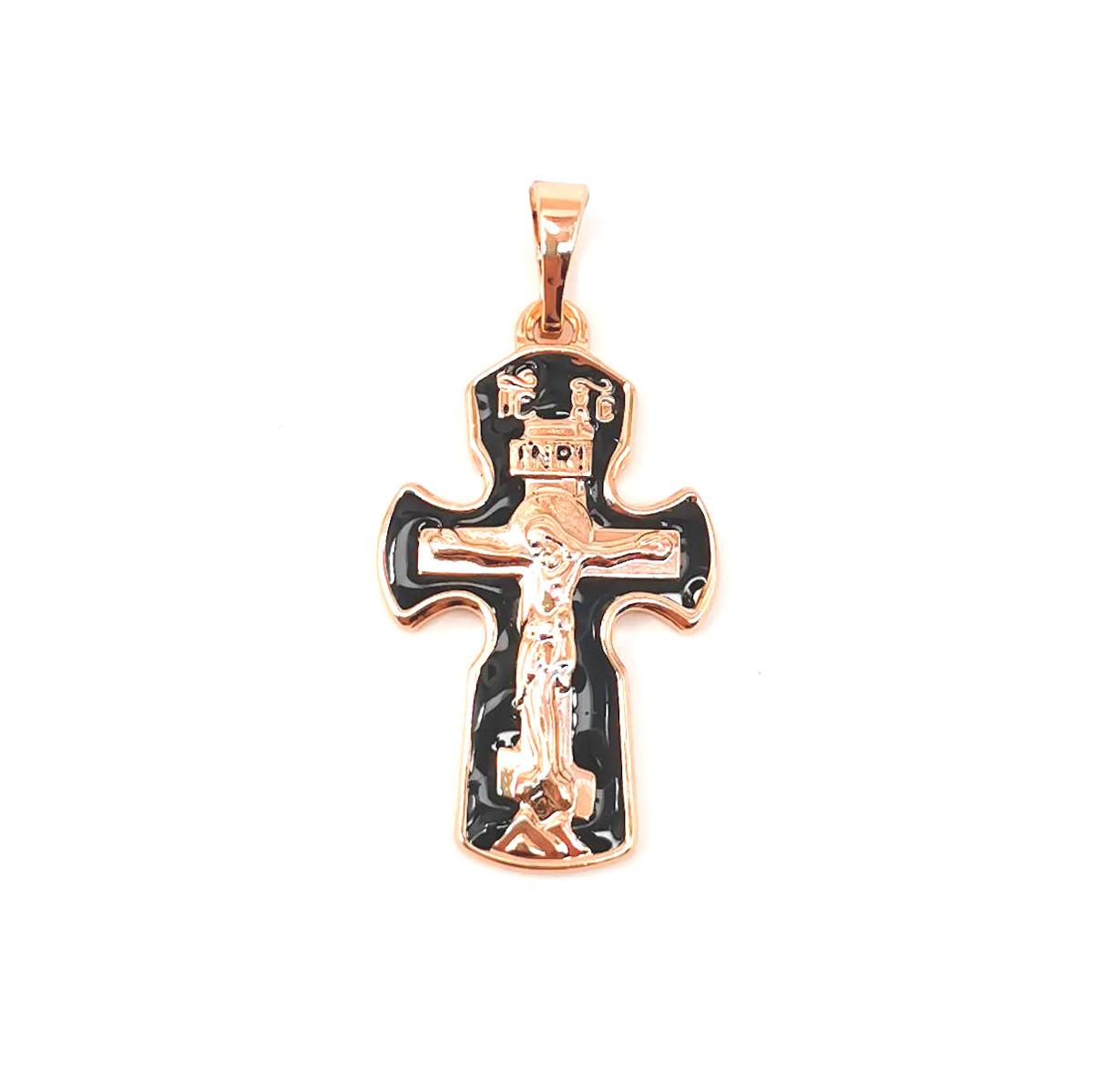 Крестик Xuping из медицинского золота, черная эмаль, позолота 18K, 42484