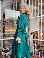 Женское шелковое платье плиссе цвет изумрудный, фото 2