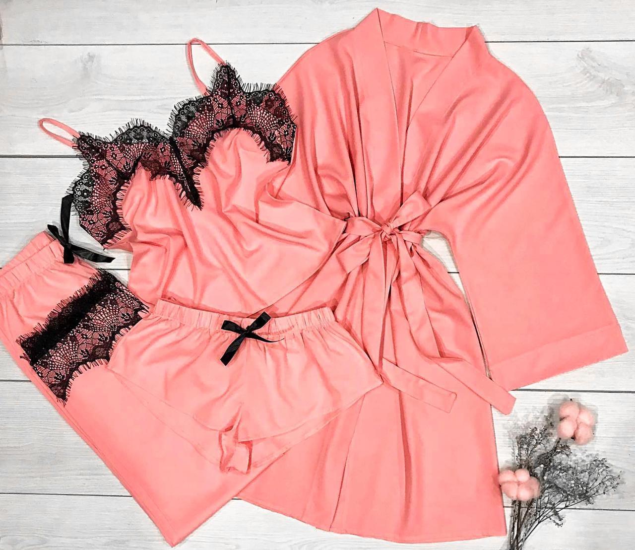 Комплект домашней одежды  4-ка: Халат и пижама ( майка шорты и штаны.)