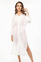 Белое платье-туника для пляжа свободный крой с поясом размер 42-46