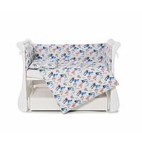 Бампер защитный для детской кровати из бязи Twins Comfort line Самолетики, голубой.Для новорожденного мальчика
