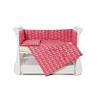 Защитный бампер бортики для детской кровати Twins Comfort line Фламинго, розовый