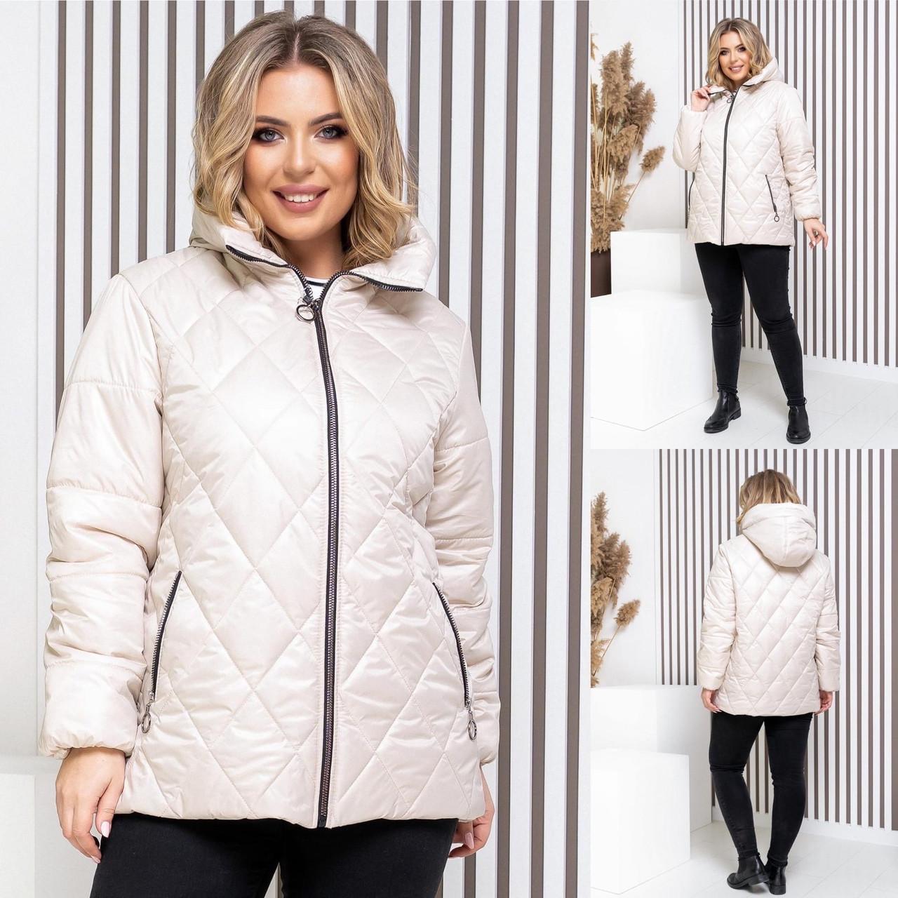 Женская демисезонная куртка плащевка лак+силикон150+подклад полиестер размер: 46-48,50-52,54-56