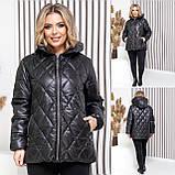 Женская демисезонная куртка плащевка лак+силикон150+подклад полиестер размер: 46-48,50-52,54-56, фото 3