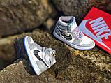 Air Jordan 1 Retro x Dior Grey (Топ якість) Осінь-Весна, Еврозима, Кроссівки, Чоловіче жіноче взуття, фото 7