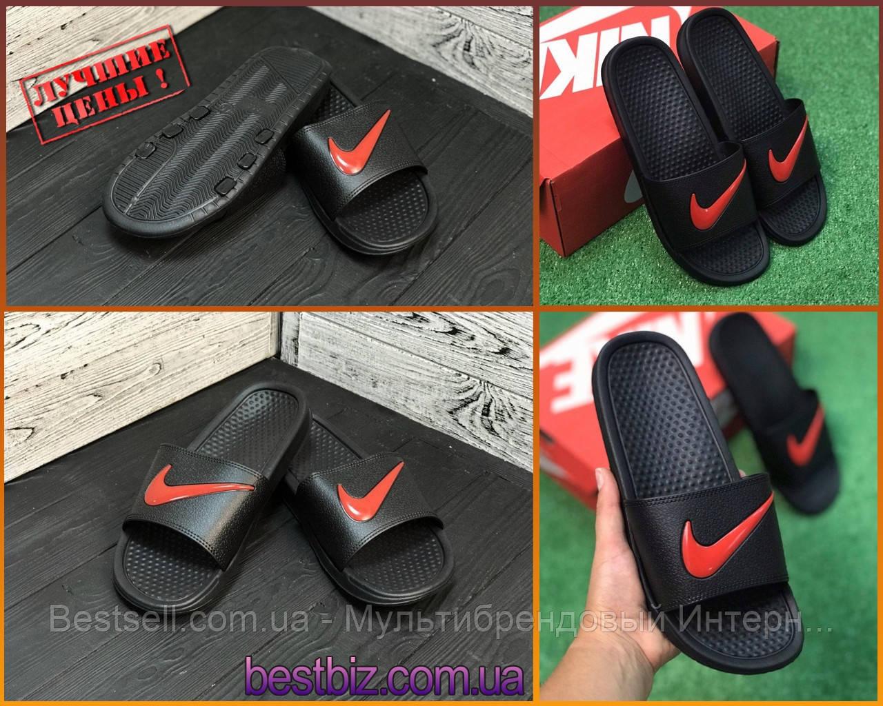 Шльопанці чоловічі чорні Nike / Сланці Nike (шльопанці,в'єтнамки)