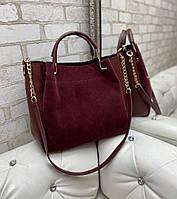 Замшевая бордовая женская сумка вместительная на плечо натуральная замша+кожзам