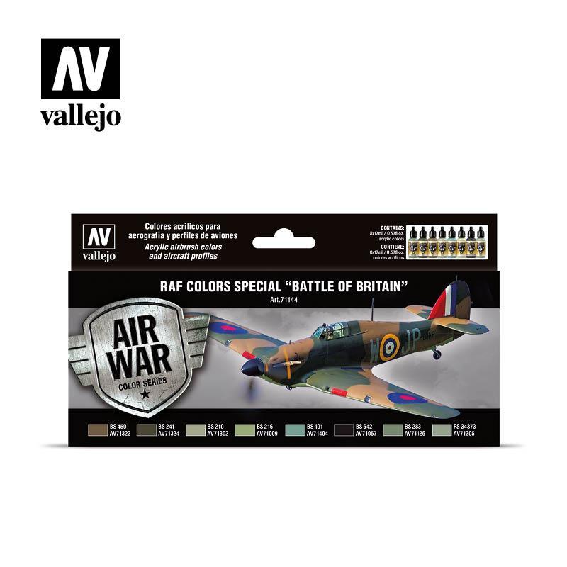 Цвета Королевских ВВС в Битве за Британию. Набор водных красок для моделей самолетов. VALLEJO 71144